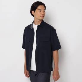 【接触冷感・吸水速乾・軽量】クールファイバー半袖シャツ (ネイビー)