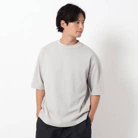 【吸水速乾・快適さらさら】【WEB限定サイズあり】AIR DRY ビッグシルエット5分袖Tシャツ (ライトグレー)