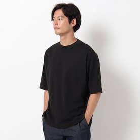 【吸水速乾・快適さらさら】【WEB限定サイズあり】AIR DRY ビッグシルエット5分袖Tシャツ (ブラック)