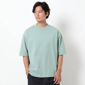 【吸水速乾・快適さらさら】【WEB限定サイズあり】AIR DRY ビッグシルエット5分袖Tシャツ (ライトグリーン)