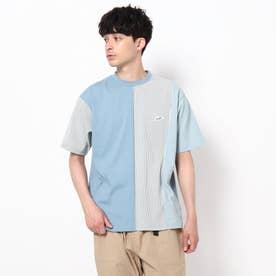 【WEB限定】クレイジーパターン×ストライプ柄Tシャツ/パパとおそろい/リンクコーデ (サックス)