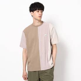 【WEB限定】クレイジーパターン×ストライプ柄Tシャツ/パパとおそろい/リンクコーデ (ベージュ)