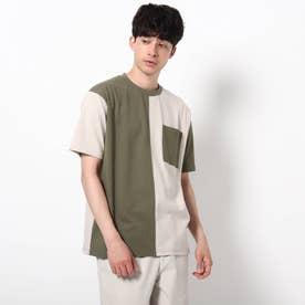 【WEB限定】バイカラーTシャツ/パパとおそろい/リンクコーデ (カーキ)