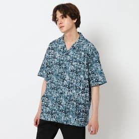 シワになりにくいボタニカルプリントシャツ (グレー)