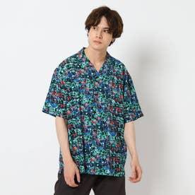 シワになりにくいボタニカルプリントシャツ (グリーン)
