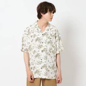 シワになりにくいボタニカルプリントシャツ (アイボリー)