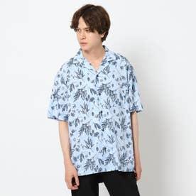 シワになりにくいボタニカルプリントシャツ (サックス)