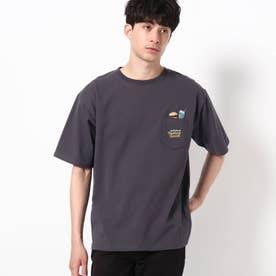 【WEB限定】POWER TO THE PEOPLE ジャンクフード刺繍 ビックシルエット ポケットTシャツ (チャコールグレー)