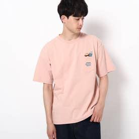 【WEB限定】POWER TO THE PEOPLE ジャンクフード刺繍 ビックシルエット ポケットTシャツ (ピンク)
