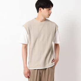 【吸水速乾】フェイクベストTシャツ (ベージュ)