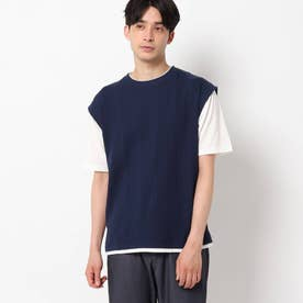【吸水速乾】フェイクベストTシャツ (ネイビー)