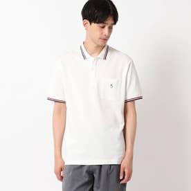 【接触冷感】ラインリブ衿ポロシャツ (オフホワイト)