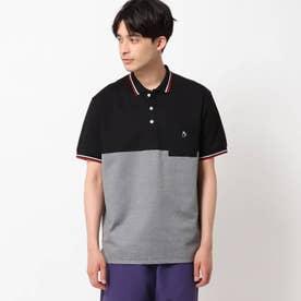【接触冷感】ラインリブ衿ポロシャツ (ブラック)