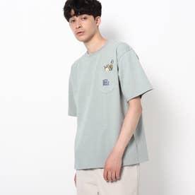 【WEB限定】ドリンク刺繍 ビックシルエット ポケットTシャツ (サックス)