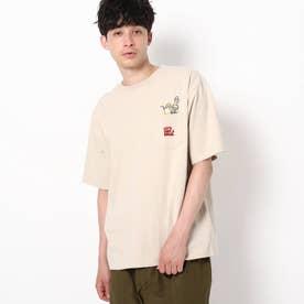【WEB限定】ドリンク刺繍 ビックシルエット ポケットTシャツ (ベージュ)