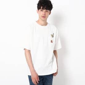 【WEB限定】ドリンク刺繍 ビックシルエット ポケットTシャツ (ホワイト)