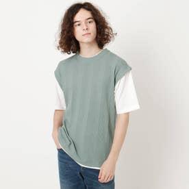 【吸水速乾】フェイクベストTシャツ (グリーン)