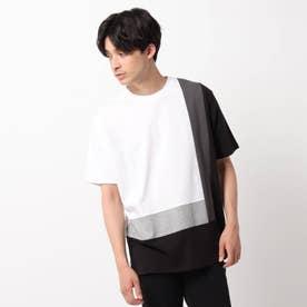 【COTTON USA】カラーブロッキングTシャツ (ホワイト)
