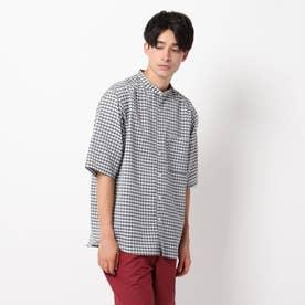 麻調ギンガムバンドカラーシャツ (グレー)
