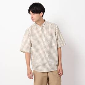 麻調ギンガムバンドカラーシャツ (ベージュ)