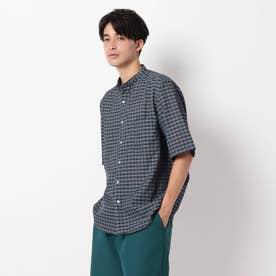 麻調ギンガムバンドカラーシャツ (ネイビー)