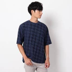 【吸水速乾】リンクス編みTシャツ (ネイビー)