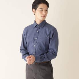 ブラッシュツイルワイドカラーシャツ (ネイビー)