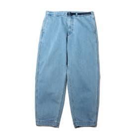 Webbing Belt Denim Wide Tapered Pants (INDIGO)