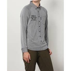 メンズ ゴルフ 長袖シャツ GREEN LABEL ストライプジャガード長袖ボタンダウンシャツ TR-1L1521B (ブラック)