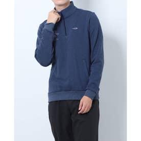 メンズ ゴルフ 長袖シャツ GREEN LABEL 蓄熱保温ストレッチ裏起毛デザインジップシャツ TR-1L1561Z (ネイビー)