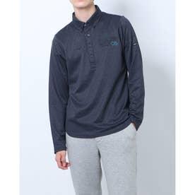メンズ ゴルフ 長袖シャツ GREEN LABEL 蓄熱保温スムース裏起毛キューブプリント長袖ボタンダウンシャツ TR-1L1541B (ブラック)