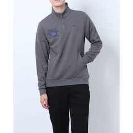 メンズ ゴルフ 長袖シャツ GREEN LABEL 蓄熱保温ストレッチ裏起毛デザインジップシャツ TR-1L1561Z (グレー)