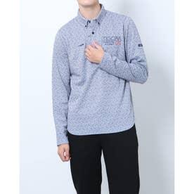 メンズ ゴルフ 長袖シャツ GREEN LABEL 蓄熱保温スムース裏起毛キューブプリント長袖ボタンダウンシャツ TR-1L1541B (ホワイト)