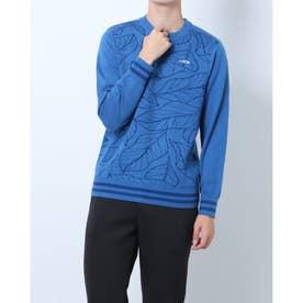 メンズ ゴルフ 長袖セーター GREEN LABEL ポリニット葉っぱ柄セーター TR-1S1531C (ブルー)