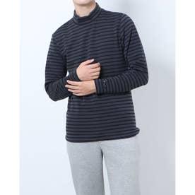 メンズ ゴルフ 長袖シャツ GREEN LABEL 蓄熱保温ストレッチボーダーハイネックシャツ TR-1L1571H (グレー)