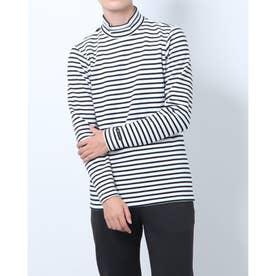 メンズ ゴルフ 長袖シャツ GREEN LABEL 蓄熱保温ストレッチボーダーハイネックシャツ TR-1L1571H (ホワイト)