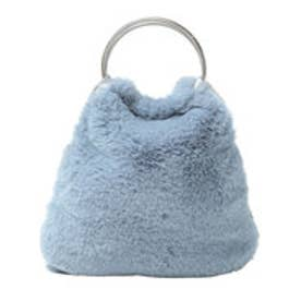 フェイクファーリングハンドバッグ (ブルー)
