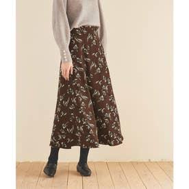 ソフトマーメイドフレアロングスカート (花柄/ブラウン)