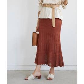 かぎ針編みニットマーメイドフレアスカート (オレンジ)