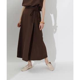 リネンライクラップAラインリボン付スカート (ブラウン)