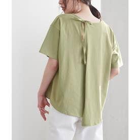 バックデザインカットソーTシャツ (ライトグリーン)