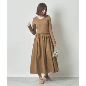 ボリュームギャザースカートドッキングドレス (モカ)