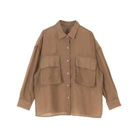 ビッグポケットシアーワークシャツ (ブラウン)
