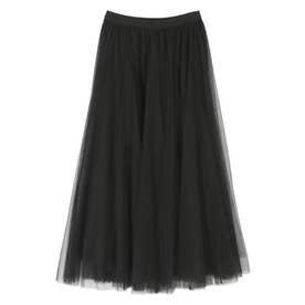 ウエストゴムチュールロングスカート (ブラック)