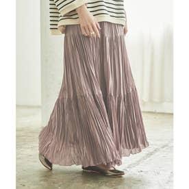 ティアードプリーツスカート (グレイッシュパープル)