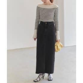 Iラインデニムスカート (ブラック)
