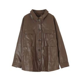 エコレザーオーバーサイズジャケット (ブラウン)