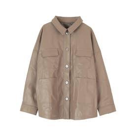 エコレザーオーバーサイズジャケット (モカ)
