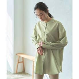 バック釦スリットバンドカラーシャツ (ライトグリーン)