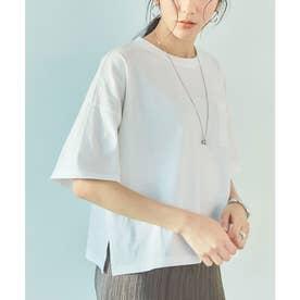 USAコットンカットソーショート丈Tシャツ (オフホワイト)